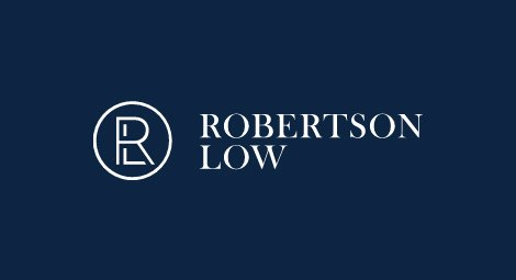 Robertson Low logo on blue background - Robertson Low partners with Open GI